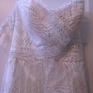 White long prom dress with silver sequins size 7/8